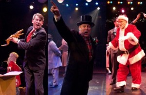 (l to r) Mr. Shellhammer (Darren McDonnell) Mr. R.H. Macy (Lawrence B. Munsey) and Santa Claus (Robert Biederman).