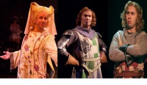 Prince Herbert (David James), Brave Sir Robin (Darren McDonnell), and Sir Galahad (Nick Lehan)