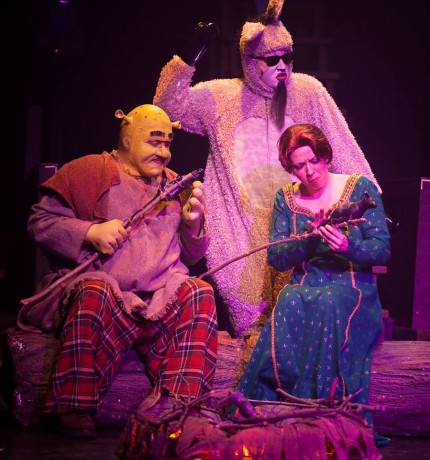 Shrek (Russell Sunday), Donkey (Calvin McCullough), and Princess Fiona (Coby Kay Callahan).
