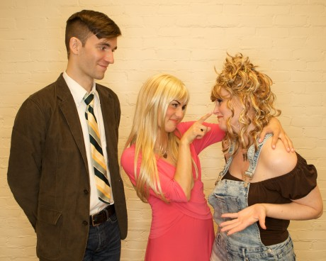 (l to r) Emmett (James Baxter) Elle Woods (Bridget Linsenmeyer) and Paulette (Tammy Oppel). Photo Courtesy of Cockpit in Court.