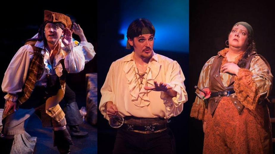 (l to r) Samuel (Jeffrey S. Shankle) The Pirate King (David Jennings) and Ruth (Jane C. Boyle). Photo by Kirstine Christiansen.