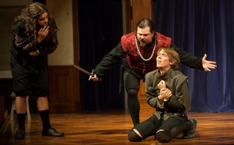 Servant Pedringano (kneeling- Jeffrey Gangwisch) is threatened into betrayal by Lorenzo (center- Bill Soucy) and Balthazar (left- Matthew Purpora). Photo credit: Joshua McKerrow.