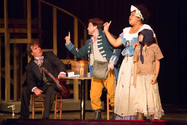 (l to r) Jean Valjean (John Day) Thènardier (Todd Hochkeppel) Madam Thènardier (Kay Washington) and Little Cosette (Nicole Wildy)