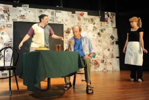 (l to r) Al (Stuart Kazanow) Mark (Tim Wolf) and Waitress (Amanda Fossett) Photo courtesy of Joshua McKerrow.