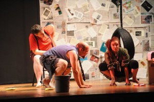 (l to r) Stuart Kazanow as Milton, Peter Eichman as Swift, and Kat McKerrow as Kafka. Photo courtesy of Joshua McKerrow.