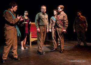 (l to r) Ross (Holly Trout) Lady Macbeth (Jaki Demarest) Macbeth (Alan Duda) Macduff (Michael C. Robinson) Malcom (Evan Ockershausen) and Banquo (Marlowe Vilchez.)