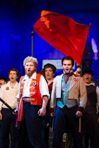 Enjolras (L-Jacob Oland) and Marius (R- Henry Cyr) lead the students to revolution. Photo courtesy of Kevin Grall.
