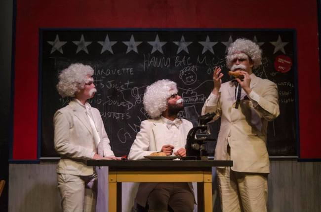 (l to r) Mark Twain (Carly Bales) Mark Twain (Utkarsh Rajawat) and Mark Twain (Jonathan Jacobs)